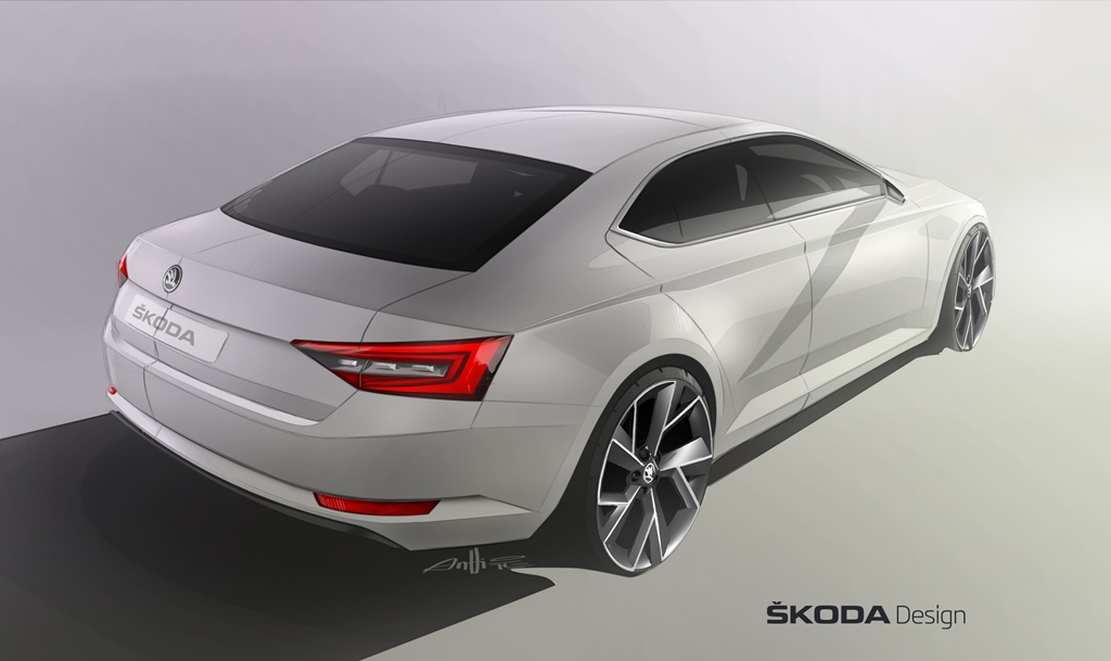 A sketch of the new SKODA SUPERB
