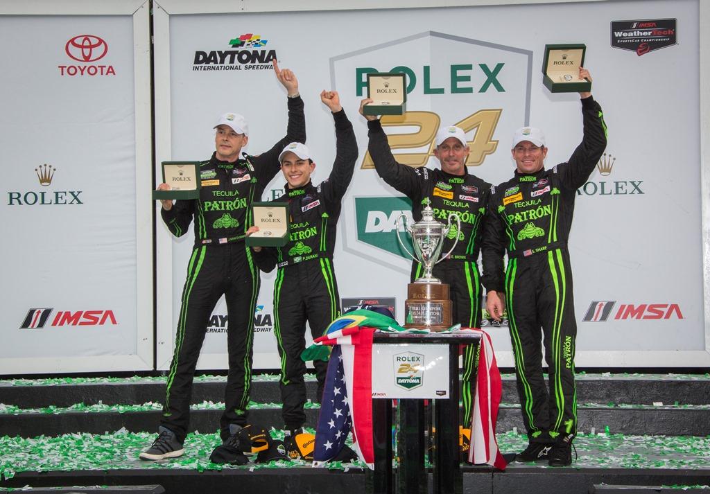 Scott Sharp, Ed Brown, Johannes van Overbeek and Luis Felipe Derani - overall winners of the Rolex 24 at Daytona