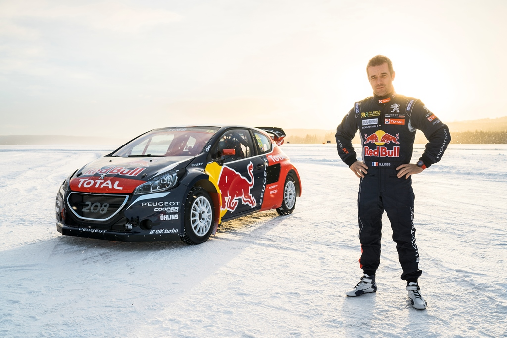 Sebastian Loeb and his Peugeot 206 WRX in Åre, Sweden on March 16, 2016.